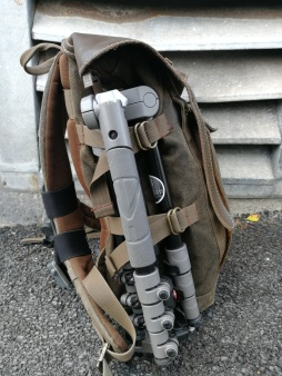 Manfrotto BeFree Tripod strapped onto bag.